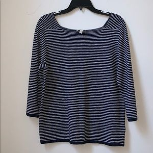 Eileen Fisher Navy/White Stripe Sweater Medium
